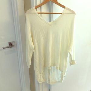 Zipper back Express large cream sweater 3/4 sleeve